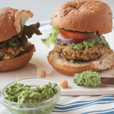 Vegan Chickpea Mushroom Burgers with Mustard Green Pesto