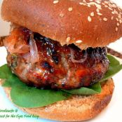 Feta Stuffed Fig Glazed Lamb Burgers with Red Onion Jam