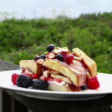 Strawberry and Banana Stuffed French Toast with Grand Marnier Syrup
