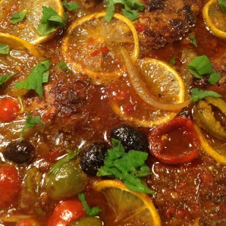 Moroccan Apricot Olive Chicken