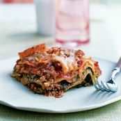 Slow Cooker Pesto Lasagna with Spinach and Mushrooms