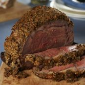 Prime Rib with a Peppercorn & Roasted Garlic Crust