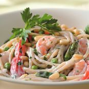 Creamy Garlic Shrimp Pasta, with Vegetables