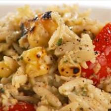 Orzo with artichoke pesto and grilled corn