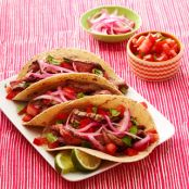 Citrus-Beer Steak Tacos with Pickled Onions & Pico de Gallo