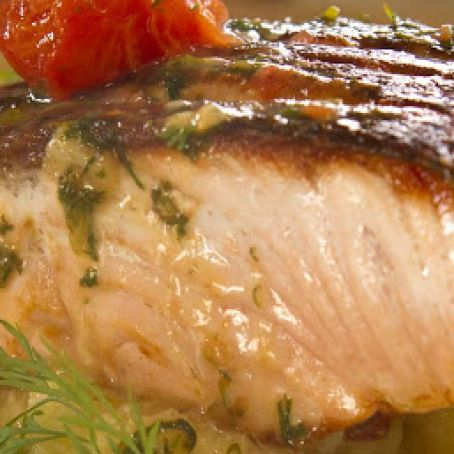 CRISPY SKIN SALMON WITH CRUSHED POTATOES