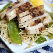 Grilled Chicken Over Lemon & Garlic Pasta