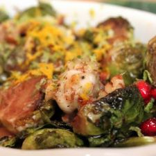 Roasted Brussels Sprouts with Pomegranates & Vanilla-Pecan Butter