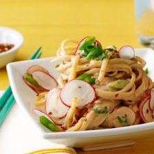 Sesame Noodles with Scallions and Radishes