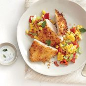 Panko-Crusted Chicken with Roasted Corn Hash & Buttermilk Dressing
