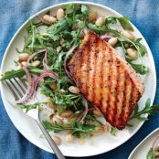 Grilled Salmon with White Bean & Arugula Salad