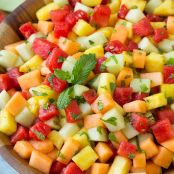 Grilled Tropical Fruit with Creamy Lime­ Mint & Mango Sauce