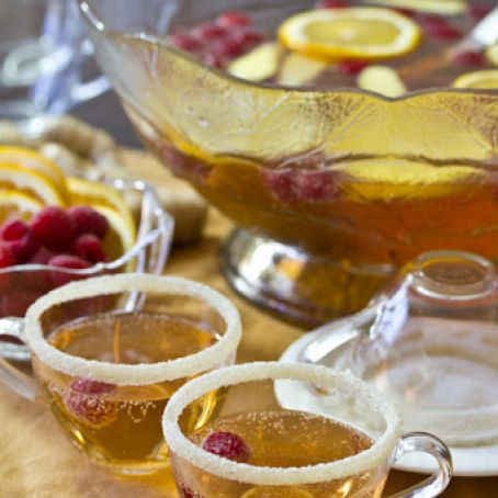 Champagne Punch with Raspberry & Orange Liqueur