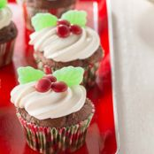 Holiday Holly Chocolate Cupcakes