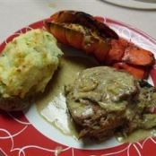 Crab-Stuffed Filet Mignon with Whiskey Peppercorn Sauce