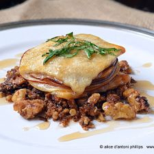 Apple Pear Pie Stackers with Spiced Roasted Walnuts & Balsamic Reduction