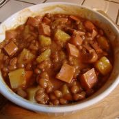 Pork and beans and hot dog casserole