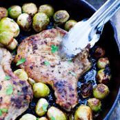 {One Pan} Pork Chops And Brussels Sprouts