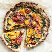 Paleo TOMATO PIE WITH ALMOND FLOUR CRUST + CREAMY CASHEW HERB FILLING