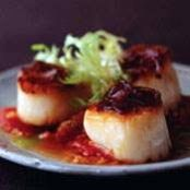 Seared Scallops with Tomato Ragout and Caramelized Shallot