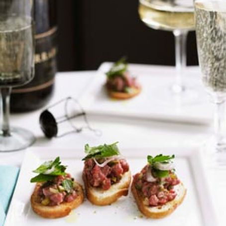Crostini with Beef Tartare and White Truffle Oil