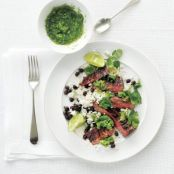 Rice and Beans With Steak & Fresh Tomatillo Salsa