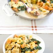 Creamy Skillet Tortellini with Sweet Potato and Spinach