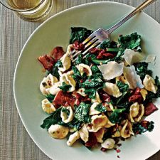 Orecchiette with Kale, Bacon, and Sun-Dried Tomatoes