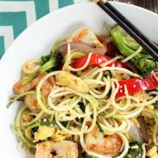 Teriyaki Zucchini Fried Noodles with Shrimp