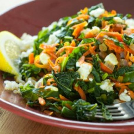 Greens w/ Carrots, Feta, and Brown Rice