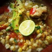 Slow-Cooked Pork Tomatillo Soup With Corn & Hominy