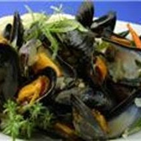 Garlicky Mussels in a Rich Lemon, Fresh Herb, Butter Sauce