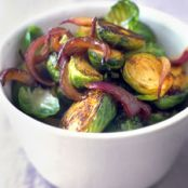 BRUSSELS SPROUTS WITH VINEGAR-GLAZED RED ONIONS {martha stewart}