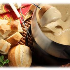 Cheese Fondue with Crusty Rolls