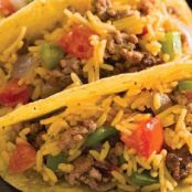 Mexican Rice and Beef Tacos