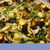 Artichoke, Asparagus, Spinach, Sun-dried Tomato, Mushroom, Onion Pizza