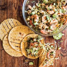 Grilled Shrimp Tacos Topped with Avocado and Grilled Pineapple