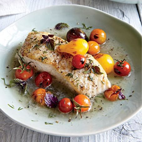 Halibut with Charred Tomatoes & Dill