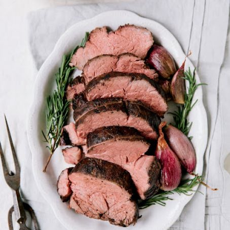 Slow-Roasted Beef Tenderloin with Shallot-Port Sauce