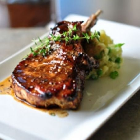 Grilled pork chop with balsamic maple glaze