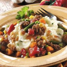 Ground Beef Stew over Cheesy Mashed Potatoes