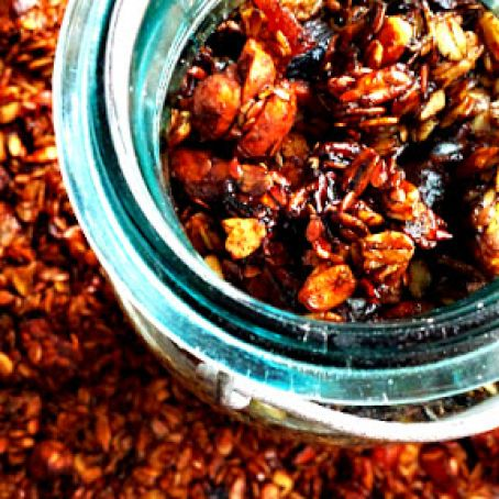 Slow Cooker Granola with Spicy Molasses Candied Nuts