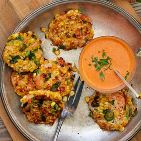 Shrimp Corn Fritters with Red Pepper Sauce