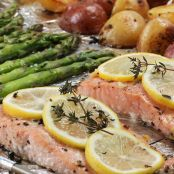 One Pan Salmon with Roasted Potatoes and Asparagus