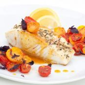 Pan-Seared Halibut with Roasted Heirloom Tomatoes