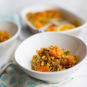 Baked Farro with Caramelized Onion, Butternut Squash & Garlic
