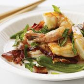 Stir Fried Shrimp with Bacon, Mint and Chiles