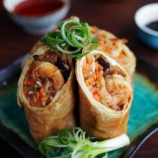 Spiced Chicken and Shrimp Egg Rolls