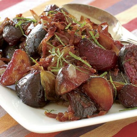 Slow Roasted Beets and Shallots with a Crispy Prosciutto Dressing