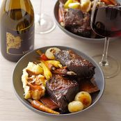 Spiced Short Ribs with Roasted Baby Carrots and Cipollini Onions